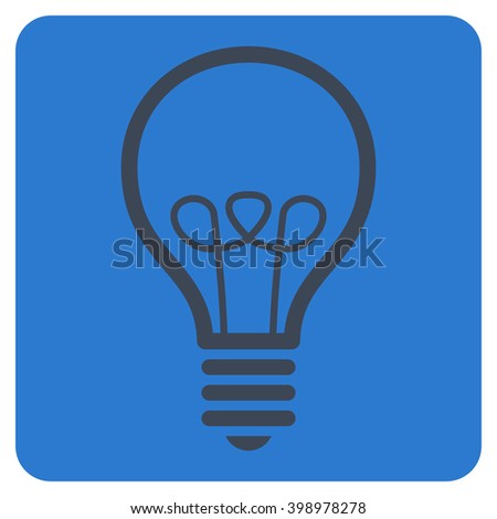 Lamp Bulb vector symbol. Image style is bicolor flat lamp bulb iconic symbol drawn on a rounded square with smooth blue colors. - stock vector