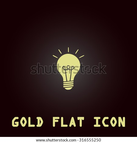 Lamp. Gold flat vector icon. Symbol for web and mobile applications for use as logo, pictogram, infographic element