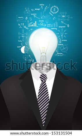 Lamp head businessman have got an idea, With drawing charts and graphs business strategy plan concept idea, Vector illustration modern template design - stock vector