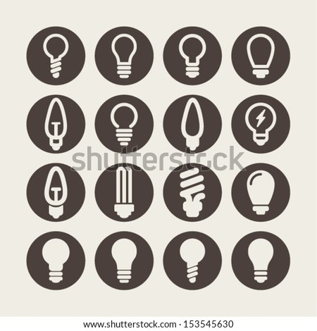 Lamp icon set - stock vector