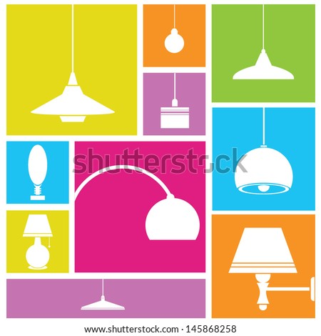 lamp icon set, light lamp, interior design - stock vector