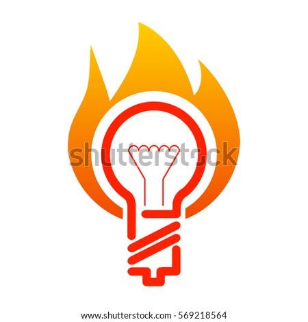 Light Bulb Fire Flame Retro Poster Stock Vector 157340135