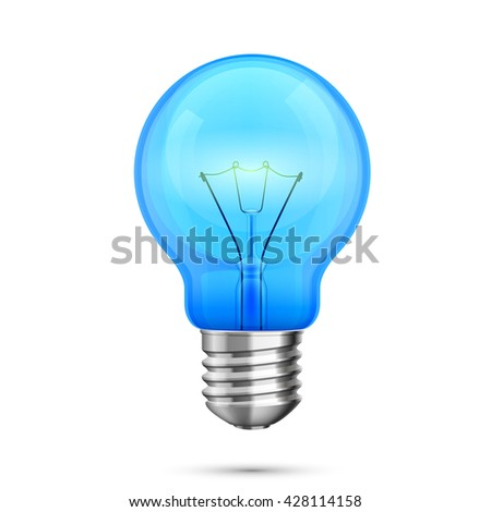 Lamp idea icon, object blue light on a white background, Vector illustration - stock vector
