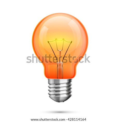 Lamp idea icon, object red light on a white background, Vector illustration - stock vector