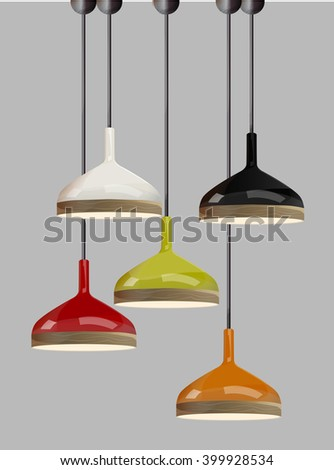 lamp on gray background.Furniture icons.Chandeliers, lamps, bulbs.Elements of interior.Modern interior.Vector Isolated Lamp.
