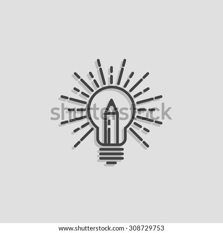 Lamp Pencil Outline Logo Creative Idea Stock Vector 308729753