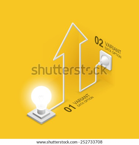 Lamp plugged in arrow. Vector illustration - stock vector