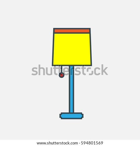 Lamp Vector Icon The Symbol Of Electric On Tall Foot Simple Modern