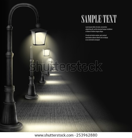Lamps Along Paving Block Street. Vector Illustration. - stock vector