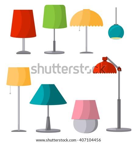 Lamps Furniture Set Light Design Electric Stock Vector 407104456 ...