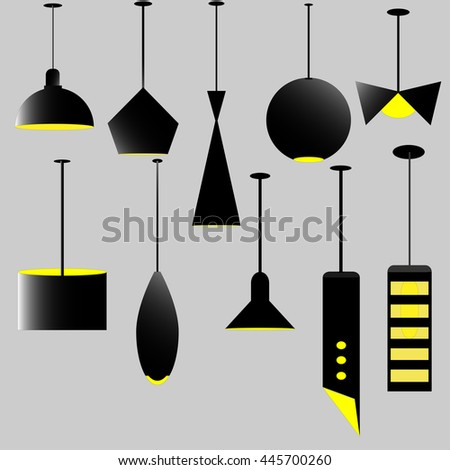 Lamps isolated black silhouette icons on white background. Lamps set. Lamps collection. Modern and classic lamps. Lamps for living room, bedroom and kitchen. Flat line style vector illustration.