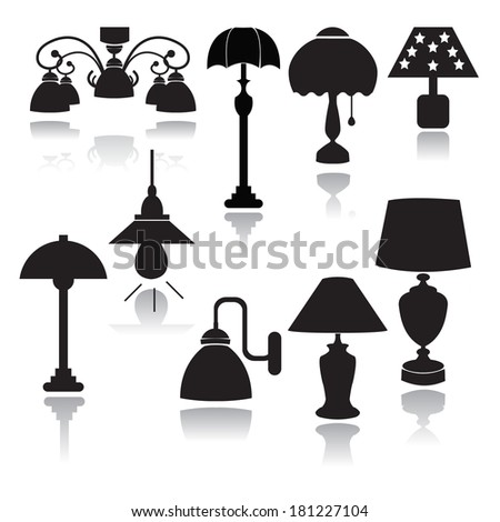 lamps set icons  - Illustration  Home interior electricity equipment flat