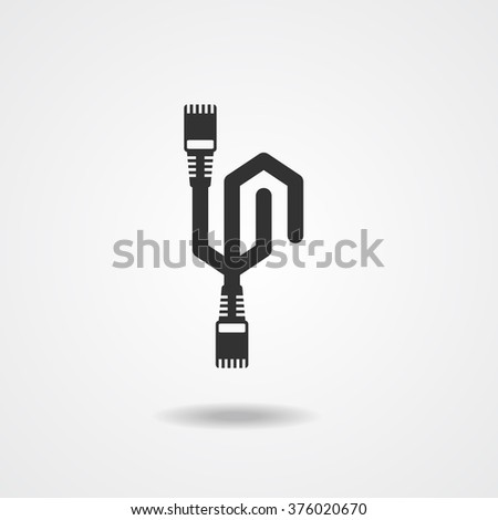 LAN Cable network  internet  Icon  silhouette vector  - stock vector