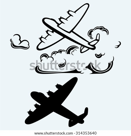 Lancaster bombers. Isolated on blue background - stock vector