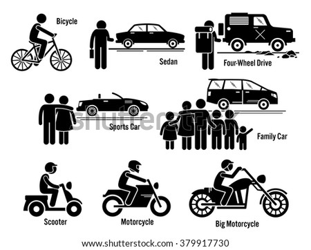 Land Personal Transport Transportation Vehicles Set - stock vector