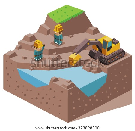 Land reclamation. Isometric vector illustration - stock vector