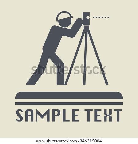 Land surveyor icon or sign, vector illustration - stock vector
