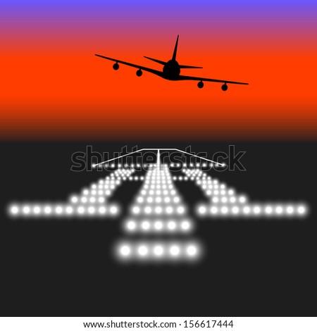 Landing lights. Vector illustration. - stock vector
