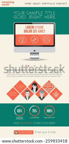 Landing page flat UI design - vector template - stock vector
