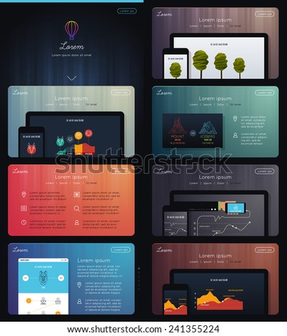 Landing Page for Web Marketing  - stock vector