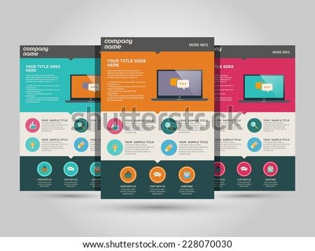 Landing page vector template - flat design - stock vector