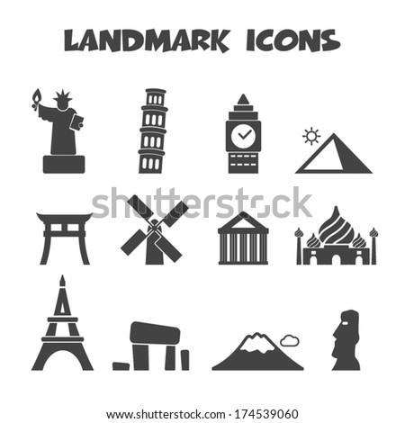 Landmarks Vector Landmark Icons Mono Vector