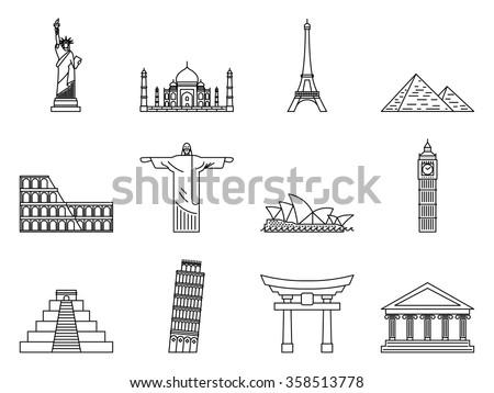 Landmark Icons set. Liberty statue, Pisa, Eiffel tower, Big Ben, Taj Mahal, Christ the Redeemer, Opera House, Piramid, Colosseum, Fushimi Inari, Chi chen Itza, Parthenon. Vector illustration. - stock vector