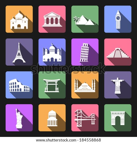 Landmarks flat icons set - stock vector