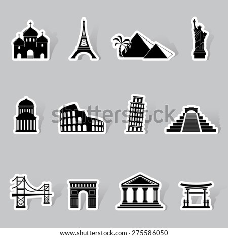 Landmarks icons set - stock vector