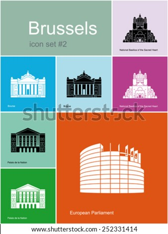Landmarks of Brussels. Set of color icons in Metro style. Editable vector illustration. - stock vector