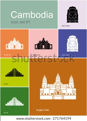 Landmarks of Cambodia. Set of color icons in Metro style. Editable vector illustration. - stock vector