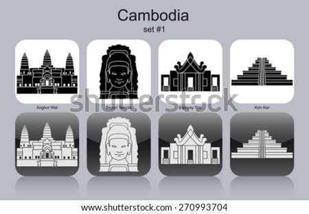 Landmarks of Cambodia. Set of monochrome icons. Editable vector illustration. - stock vector