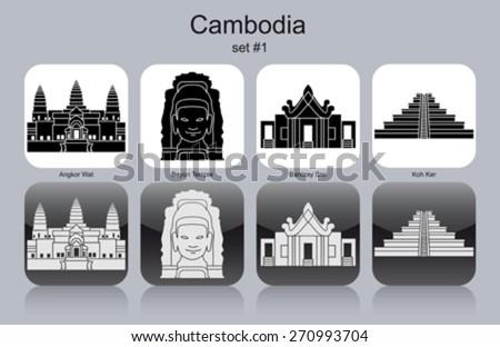 Landmarks of Cambodia. Set of monochrome icons. Editable vector illustration. - stock vector