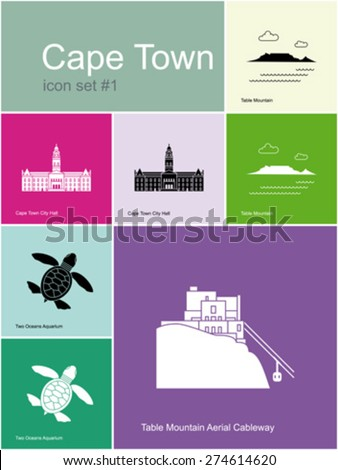 Landmarks of Cape Town. Set of color icons in Metro style. Editable vector illustration. - stock vector