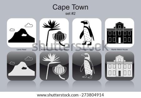 Landmarks of Cape Town. Set of monochrome icons. Editable vector illustration. - stock vector