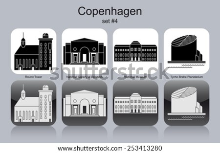 Landmarks of Copenhagen. Set of monochrome icons. Editable vector illustration. - stock vector