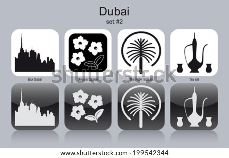 Landmarks of Dubai. Set of monochrome icons. Editable vector illustration. - stock vector