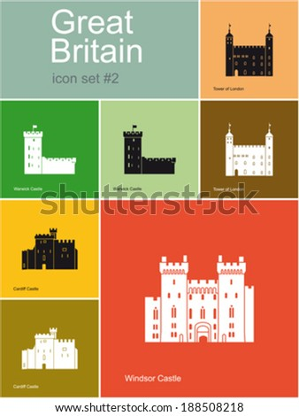 Landmarks of Great Britain. Set of flat color icons in Metro style. Editable vector illustration. - stock vector