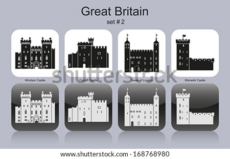Landmarks of Great Britain. Set of monochrome icons. Editable vector illustration. - stock vector