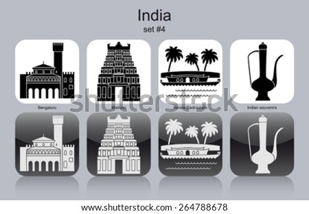 Landmarks of India. Set of monochrome icons. Editable vector illustration. - stock vector