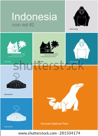 Landmarks of Indonesia. Set of color icons in Metro style. Editable vector illustration. - stock vector