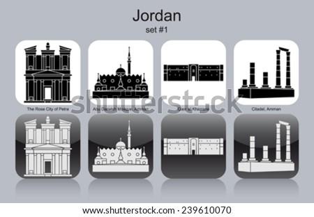 Landmarks of Jordan. Set of monochrome icons. Editable vector illustration. - stock vector