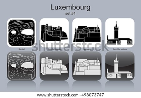 Landmarks of Luxembourg. Set of monochrome icons. Editable vector illustration.