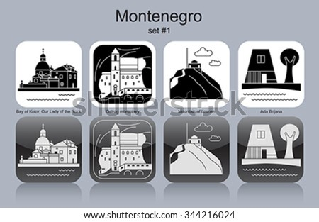 Landmarks of Montenegro. Set of monochrome icons. Editable vector illustration. - stock vector