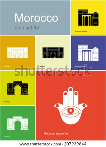 Landmarks of Morocco. Set of color icons in Metro style. Editable vector illustration.