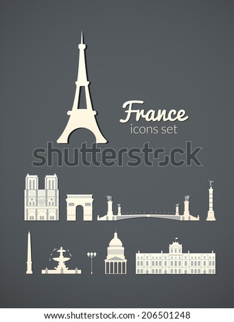 Landmarks of Paris, vector simple white icons on gray elegant background
