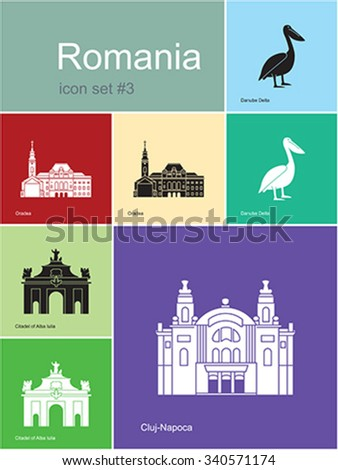 Landmarks of Romania. Set of color icons in Metro style. Editable vector illustration. - stock vector