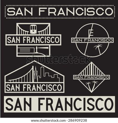 landmarks of San Francisco vintage labels set - stock vector