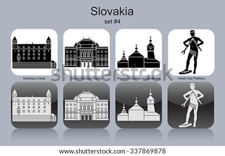 Landmarks of Slovakia. Set of monochrome icons. Editable vector illustration. - stock vector
