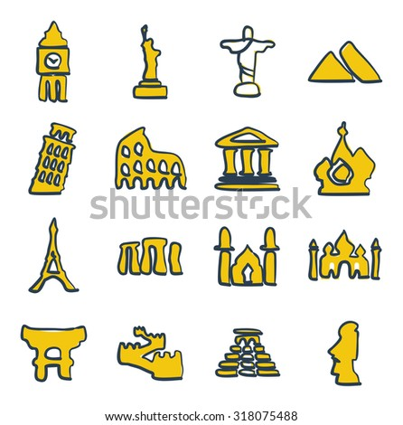Landmarks Of The World Icons Freehand 2 Color - stock vector